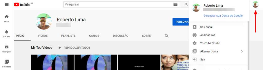 Ver meus canais do Youtube